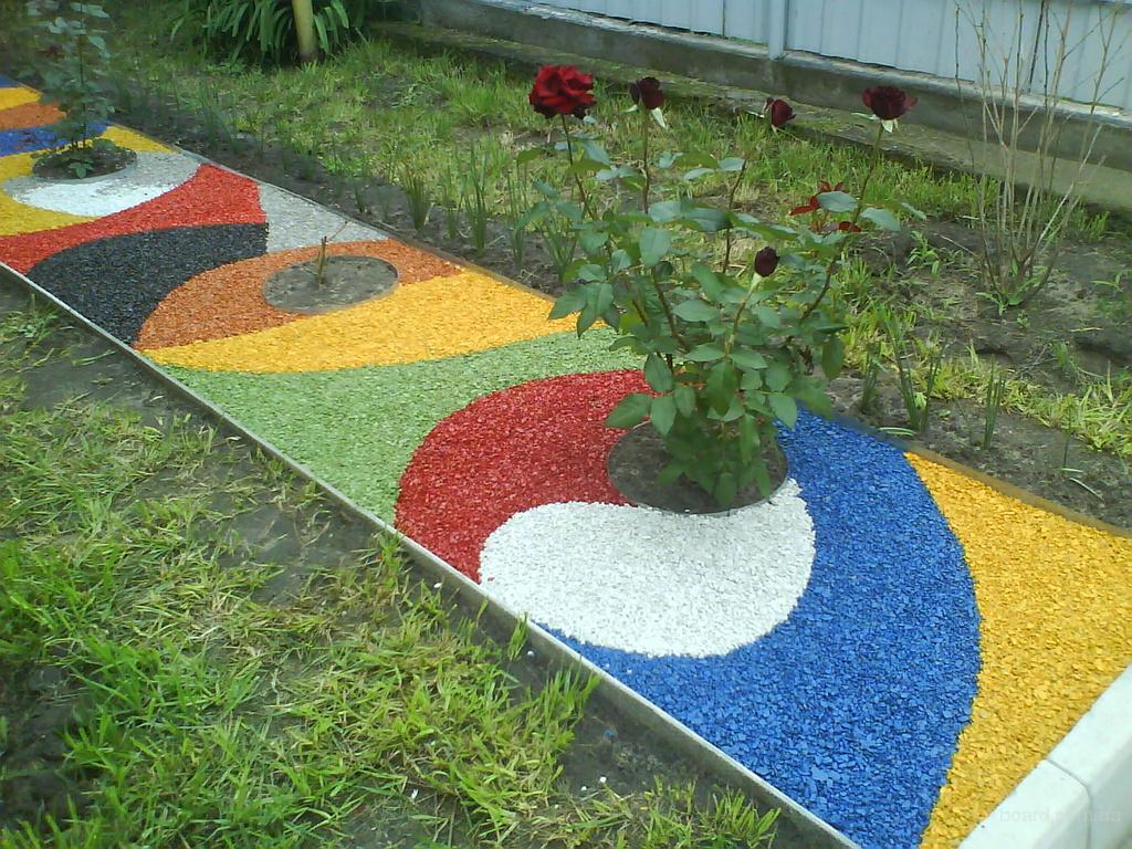 Ландшафтный дизайн из цветного щебня