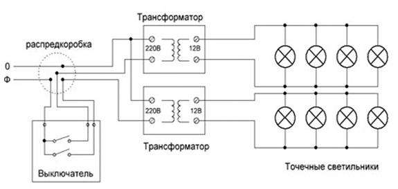 галогеновые лампы схема