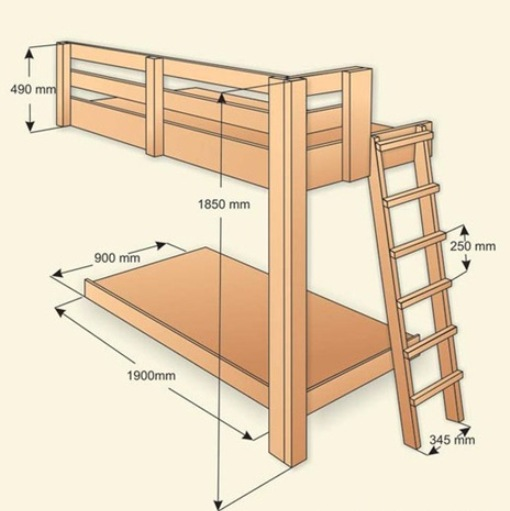 Кровать двухъярусная размеры сделать своими руками