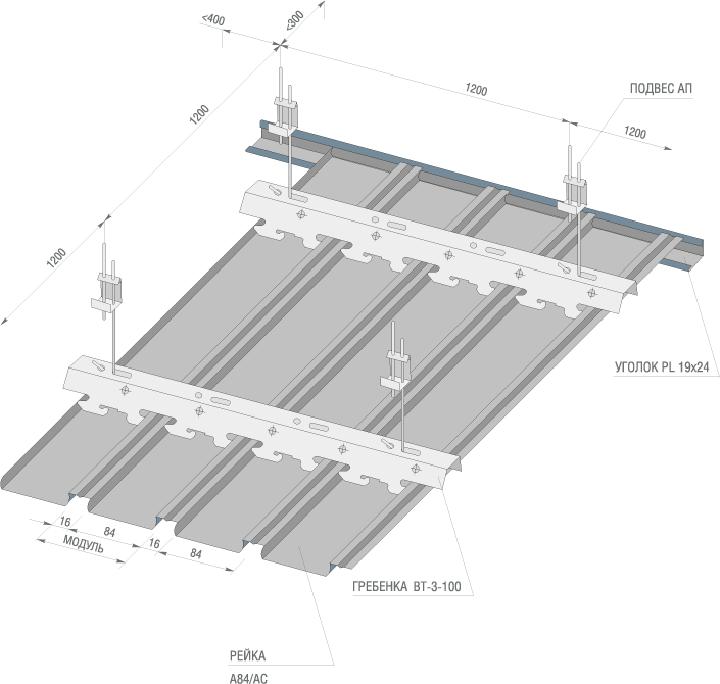 Схема металлического подвесного потолка