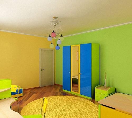 Как покрасить стены детской двумя цветами