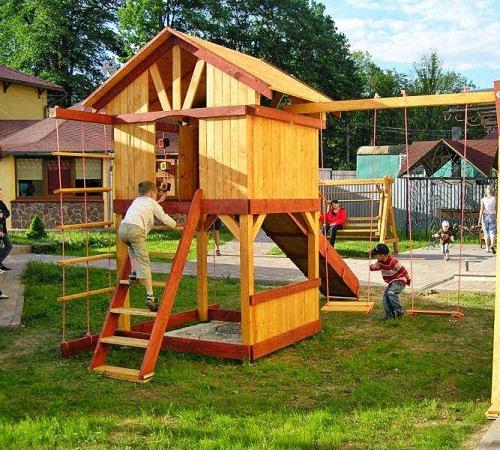 Игровая площадка для детей на даче своими руками фото