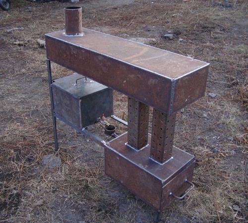 Печка на отработке с водяным контуРождественский Большая