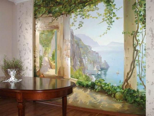 Картинки по запросу роспись стен в интерьере это