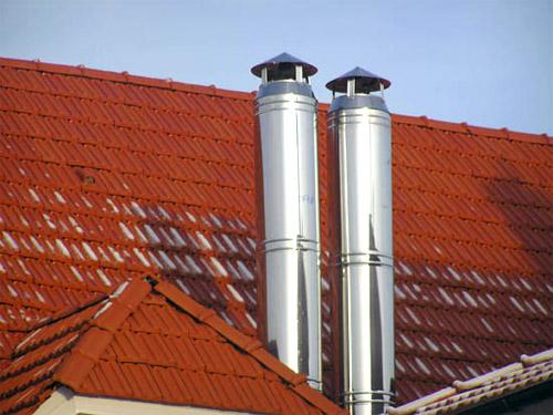 Как закрепить дымоход на крыше галстук?