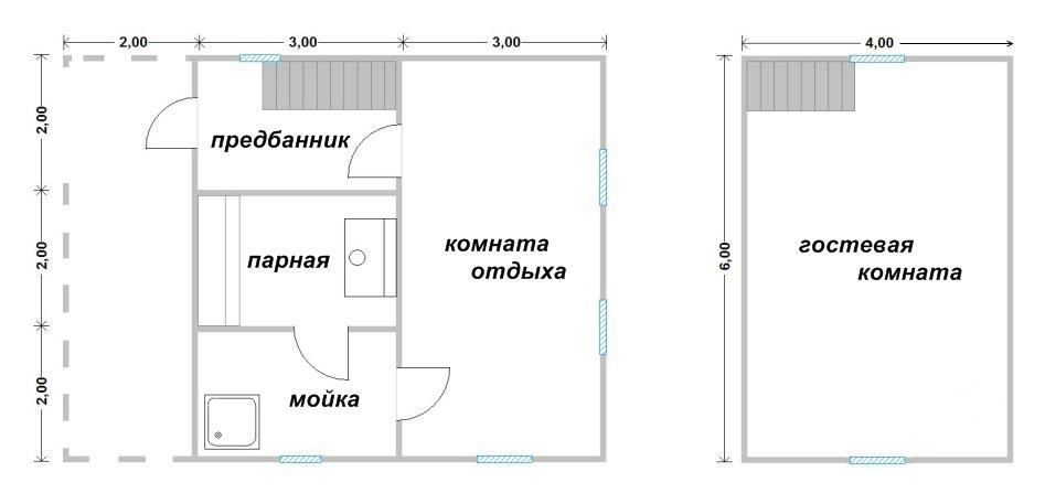 Дом баня с мансардой проект
