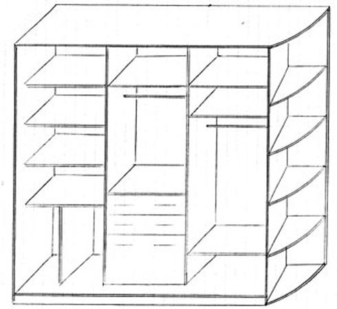 чертеж шкафа купе своими