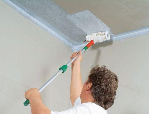 Нанесение грунтовки на потолок перед побелкой