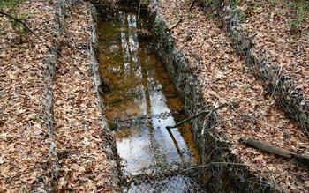 Слив дождевой воды в дренажную канаву