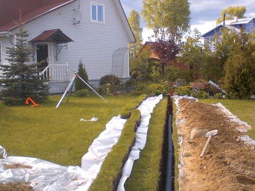 Прокладка наружной канализации коттеджа