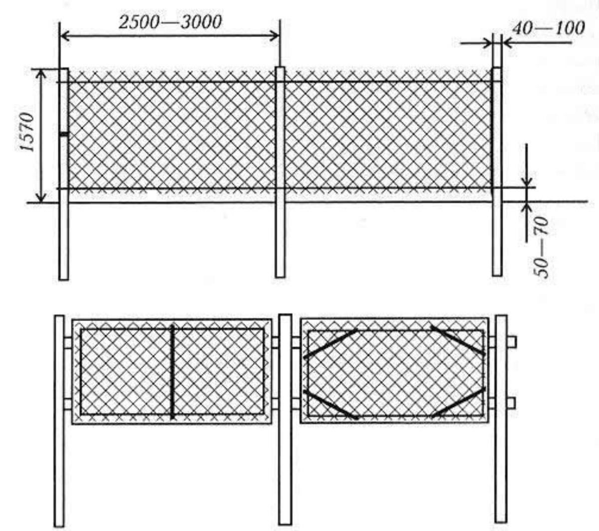 Забор своими руками из сетка рабица фото