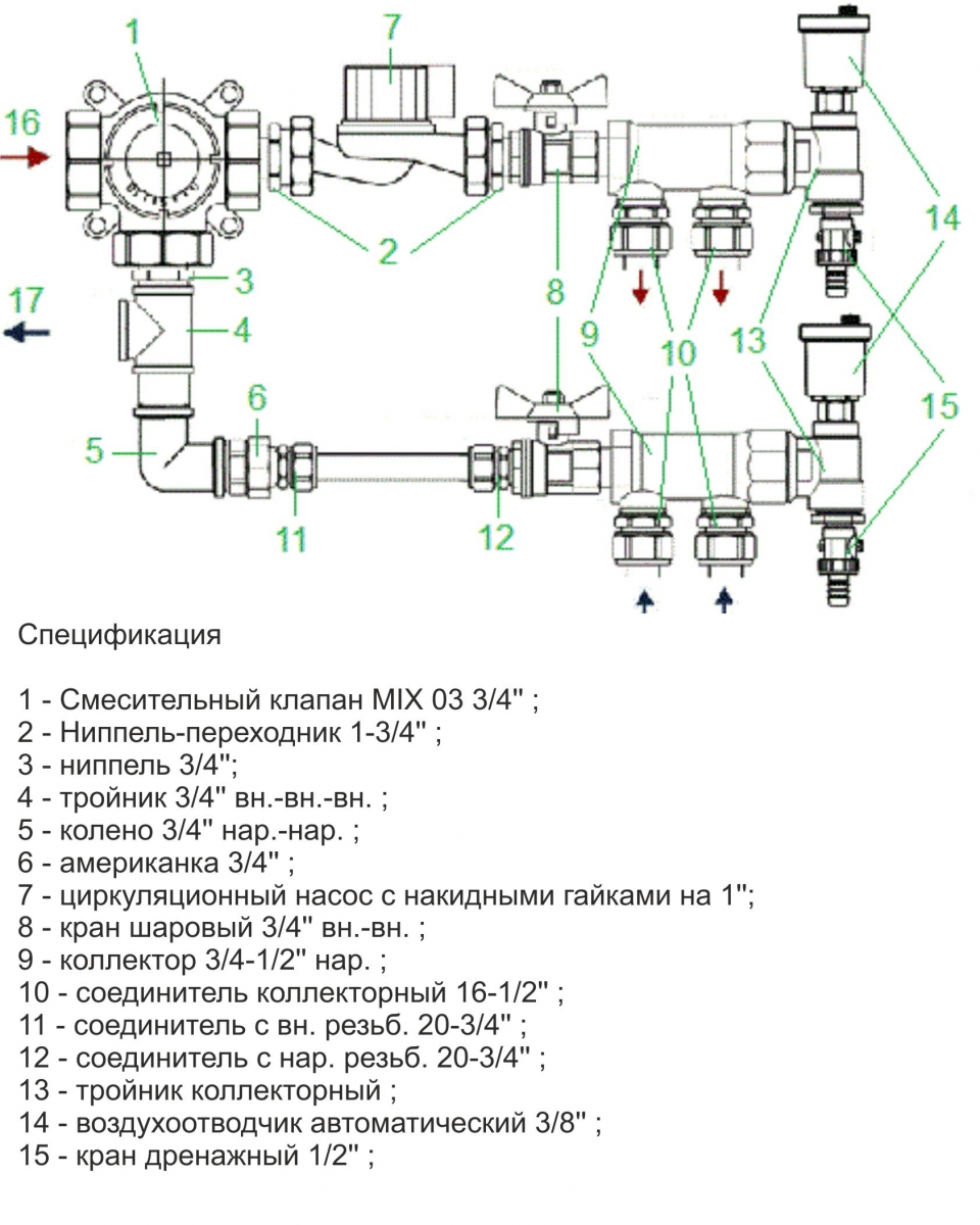Схема узел теплого пола