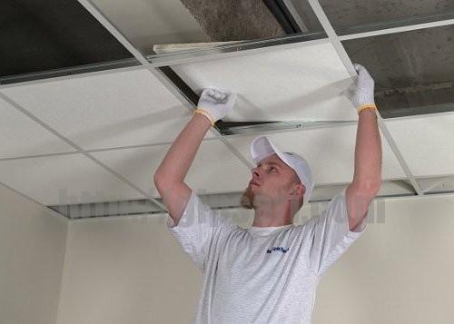 Как сделать навесной плиточный кассетный потолок
