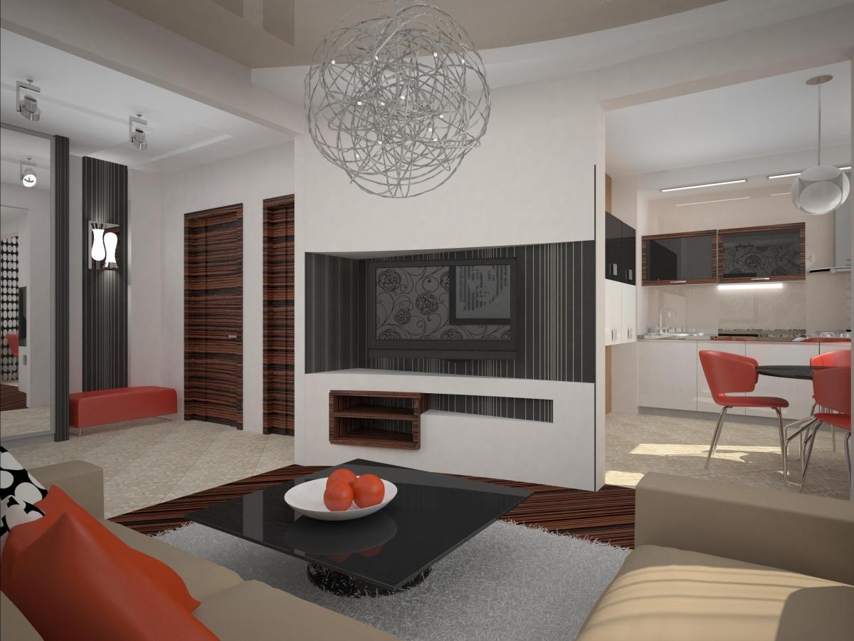Дизайн квадратной комнаты с большим окном