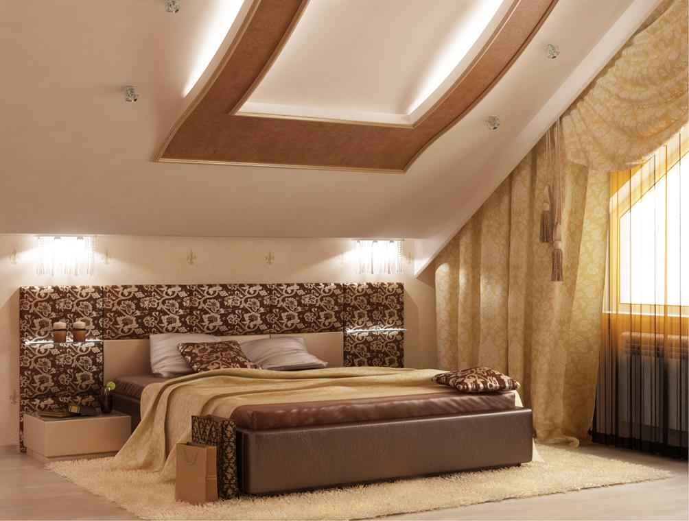 Дизайн спальни мансардного типа