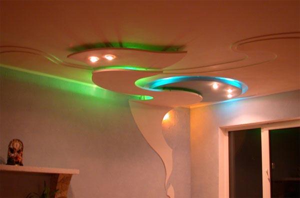 потолок с переходом на стену из гипсокартона фото