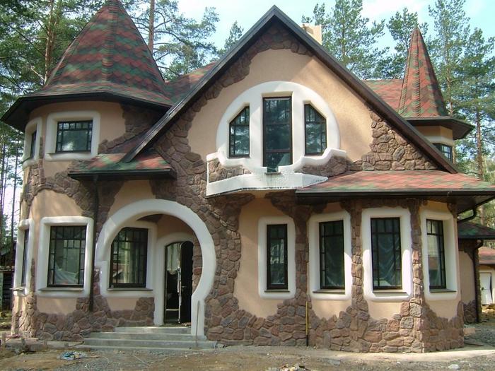 Отделка стен фасада натуральным камнем