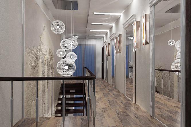 Дизайн холла в два этажа с лестницей