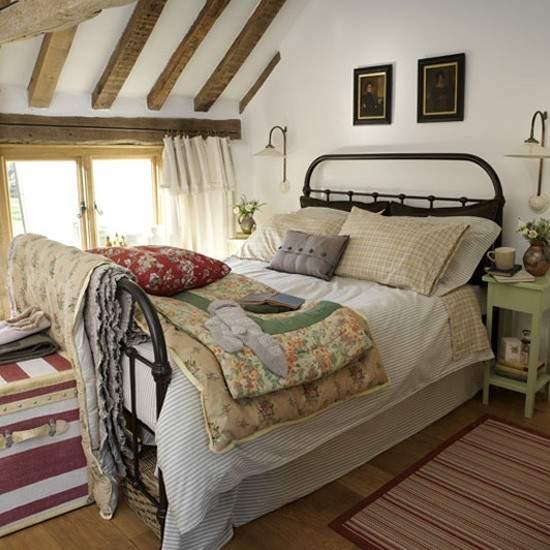 Интерьер кантри спальня