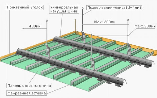 Как делать реечный потолок 90