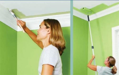 Как проводится окраска потолка