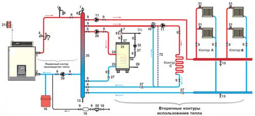 Подключение бойлера и контуров отопления через гидравлическую стрелку
