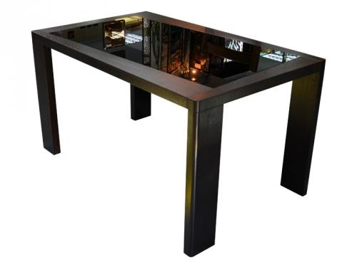 Кухонные столы деревянные со стеклом