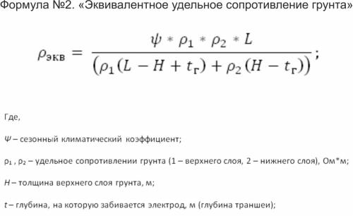 Формула №2. «Эквивалентное удельное сопротивление грунта»
