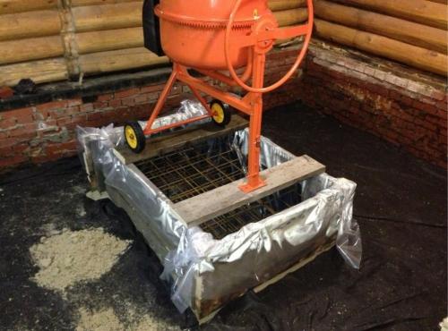 Фундамент под печь в баню - армирование и заливка бетоном