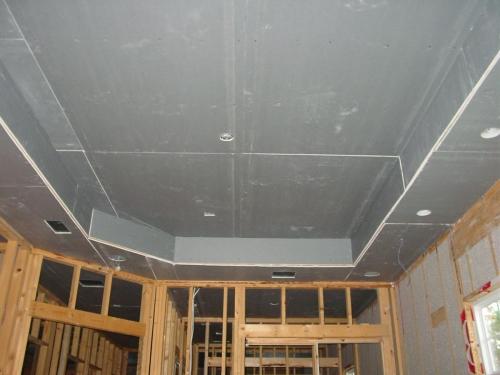 Монтаж гипсокартонных листов на двухуровневый потолок