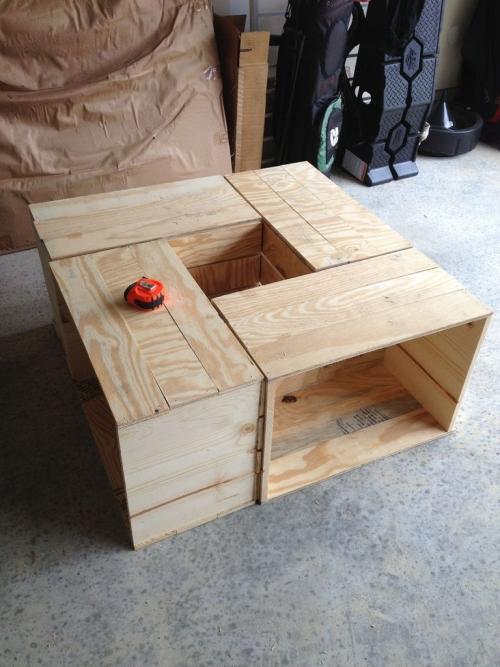 Кофейный столик «ящики» из фанеры - необработанный