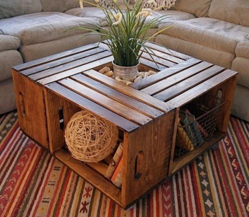 Кофейный деревянный столик из ящиков своими руками