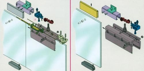 Механизм стеклянных раздвижных дверей