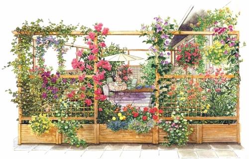 Место для террасы в саду