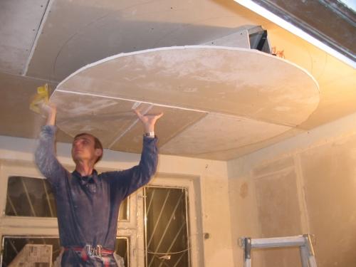 Монтаж гипсокартонных листов двухуровневого потолка