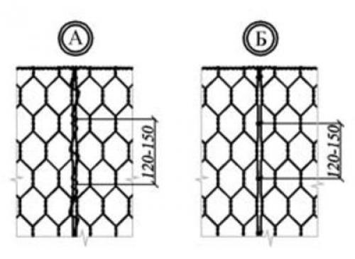 Сборка коробчатого габиона - связывание стенок