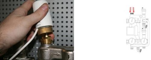 Снимаем терморегулятор со смесительного узла