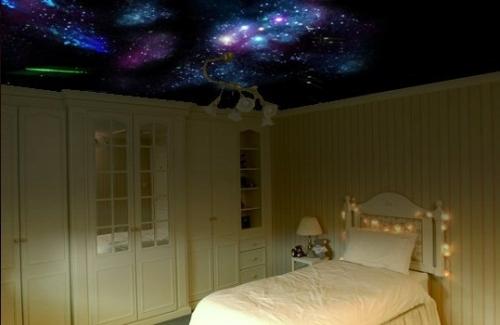 Натяжной потолок Звездное небо с помощью оптоволокна