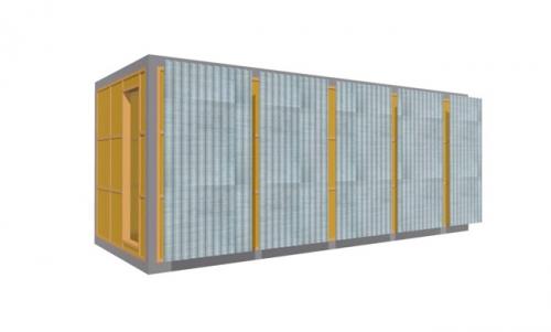 Обшивка профнастилом каркаса для блок-контейнера