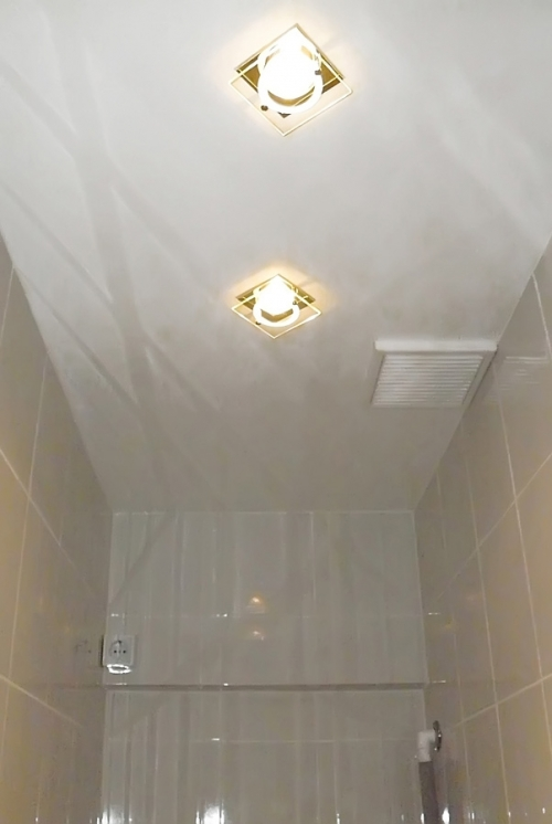 Окрашенный потолок в туалете