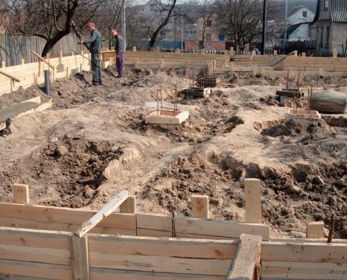 Опалубка для фундамента под дом из клееного бруса