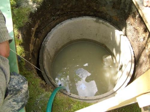 Откачка воды из колодца насосом