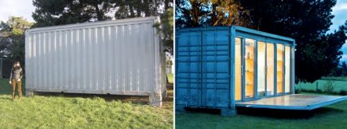 Блок-контейнер, переделанный из транспортного контейнера
