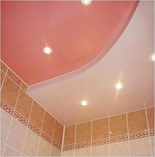 Потолок из гипсокартона в туалете