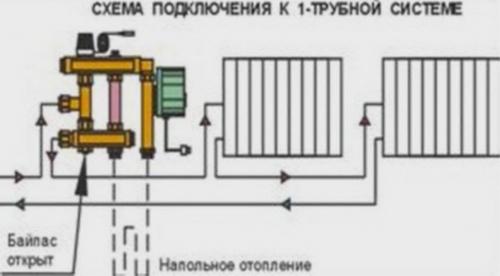 Схема установки смесительных узлов для теплого пола в однотрубной системе