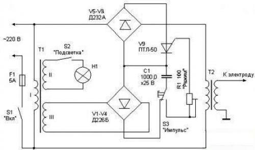 Схема контактного сварочного трансформатора