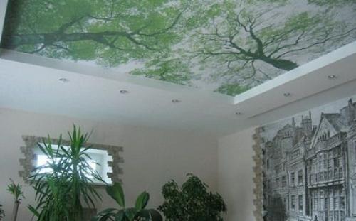 Тканевый натяжной потолок 8