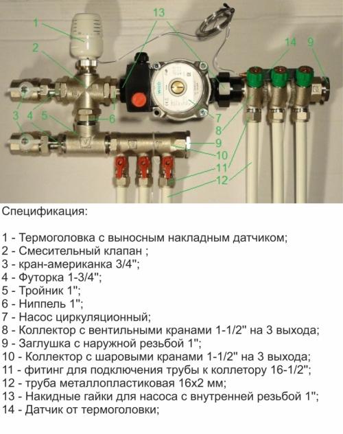 Термостатический трехходовой смесительный клапан в схеме теплого пола