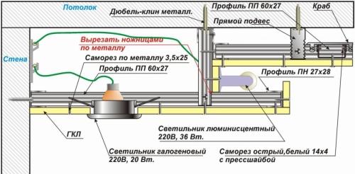 Схема двухуровневого подвесного потолка 3