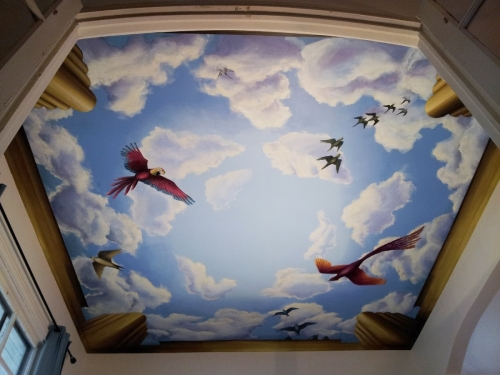 ceiling murals with birds 500x375 - Декоративне оформлення стель